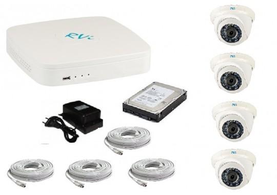 Бюджетный комплект CCTV видеонаблюдения в 960H качестве на 4 купольные видеокамеры