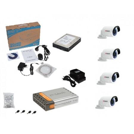 Бюджетный комплект IP видеонаблюдения в HD качестве на 4 уличные видеокамеры