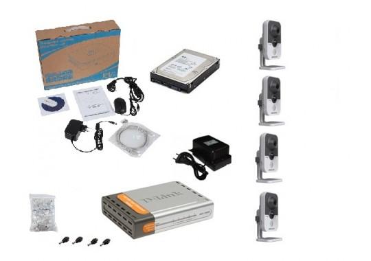 Бюджетный комплект IP видеонаблюдения в HD качестве на 4 внутренние видеокамеры
